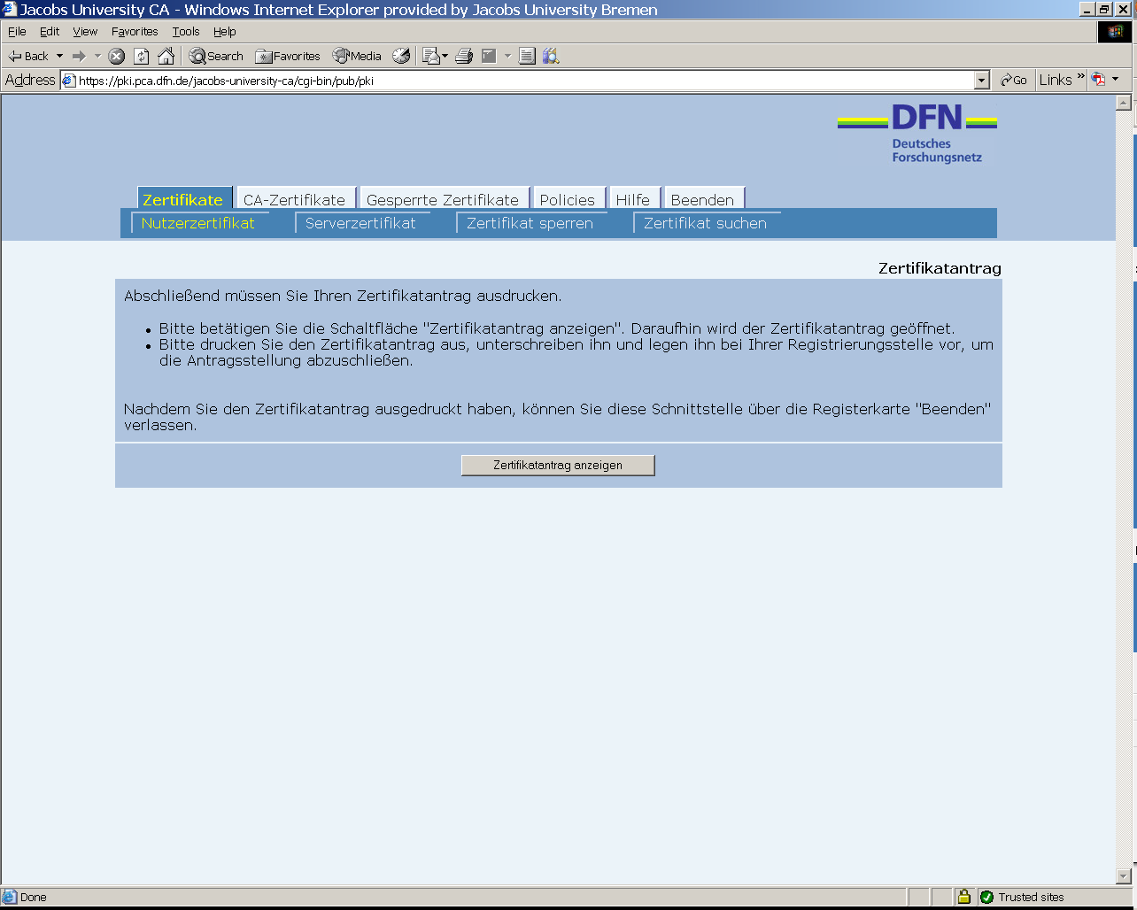 How to request a PKI certificate - IT - Teamwork at Jacobs University