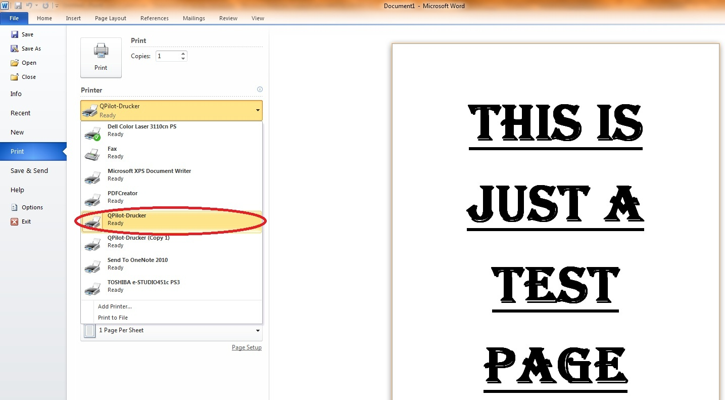 Print page color word 2010 - Open The Printer Dialog From Within The Application You Want To Print From E G Word 2010 And Choose Qpilot Drucker Qpilot Printer